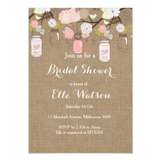 Pink Mason Jars Bridal Shower Invitation