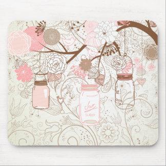 Pink Mason Jars & Hearts Tree Mouse Pad