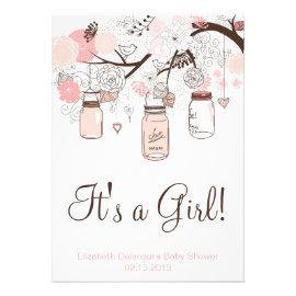 Cute baby shower invitations pretty pattern gifts pink mason jars lovebirds baby shower invitation filmwisefo