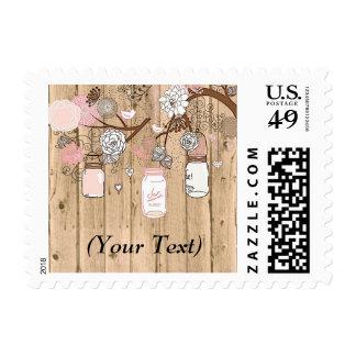 """""""Pink Mason Jars on Wood"""" Stamp"""