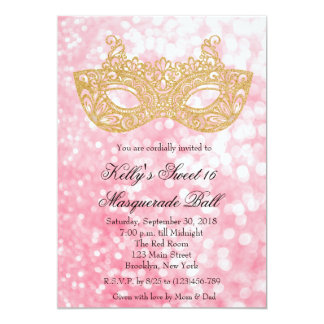 Pink Masquerade Ball Glitter Sweet 16 Invitation