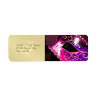 Pink Masquerade Halloween Address Labels