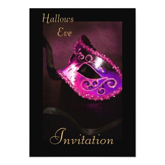 Pink Masquerade Halloween Holiday Invitation