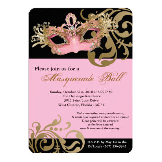 Pink Masquerade Mask Ball Costume Halloween Card