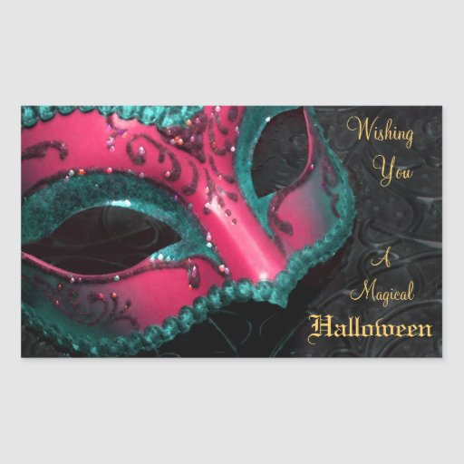 Pink Masquerade Mask Halloween Party Stickers