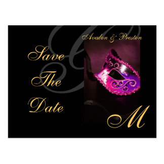 Pink Masquerade Mask Save The Date Postcard