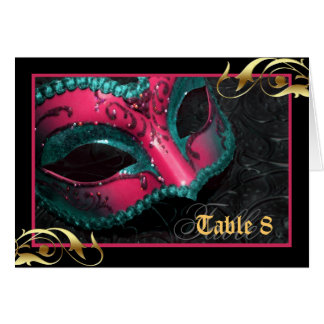 Pink Masquerade Mask Table Number Card