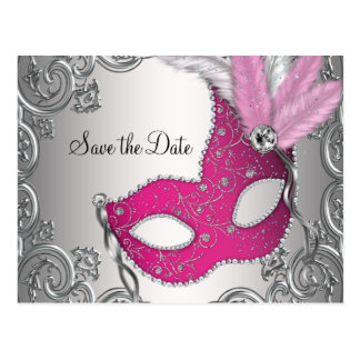Pink Masquerade Save The Date Postcard