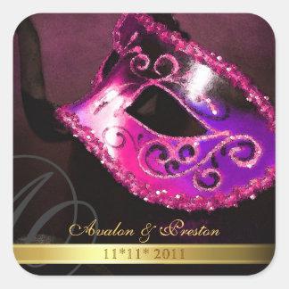 Pink Masquerade Swirl Save The Date Sticker