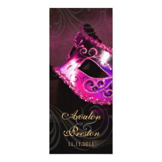 "Pink Masquerade  Wedding Program Invitation 4"" X 9.25"" Invitation Card"