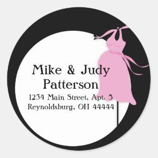Pink Maternity Dress Round Return Address Label Classic Round Sticker