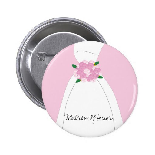 Pink Matron Of Honor Button