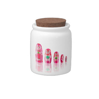 Pink Matryoshka Russian Dolls Candy Jar
