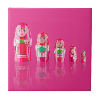 Pink Matryoshka Russian Dolls Tile