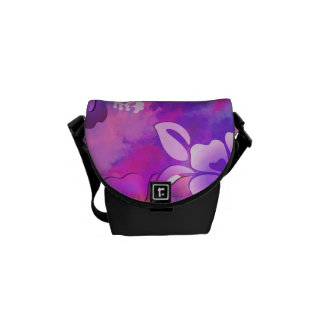 Pink Mauve Bird Flowers Abstract Accessory Bag