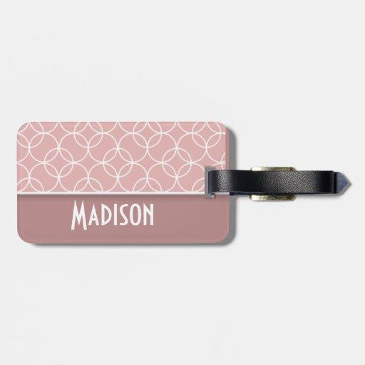 Pink; Mauve Circles Travel Bag Tag