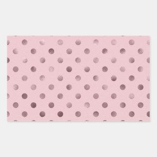 Pink Mauve Metallic Faux Foil Polka Dot Orchid Rectangular Sticker