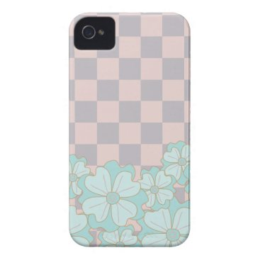 Pink, Mauve & Teal flowers checkerboard pattern Case-Mate iPhone 4 Case