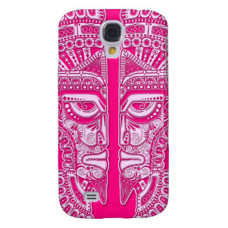 Pink Mayan Twins Mask Illusion Galaxy S4 Covers