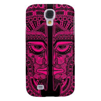Pink Mayan Twins Mask Illusion on Black Galaxy S4 Covers