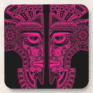 Pink Mayan Twins Mask Illusion on Black Coasters