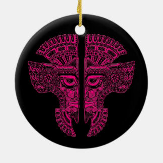 Pink Mayan Twins Mask Illusion on Black Double-Sided Ceramic Round Christmas Ornament