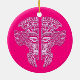 Pink Mayan Twins Mask Illusion Double-Sided Ceramic Round Christmas Ornament