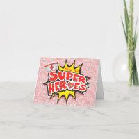 Pink Medical Frontline Super Heroes Nurses Thank You Card