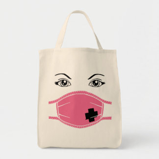 Pink Medical Mask Graphic Tote Bag