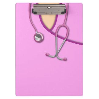 Pink Medical Scrubs Clipboard