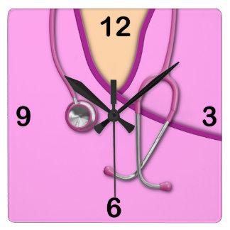Pink Medical Scrubs Square Wallclocks