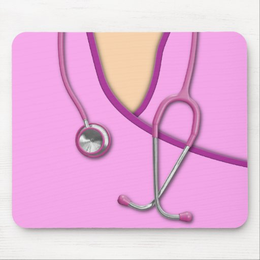 Pink Medical Scrubs Mouse Pad