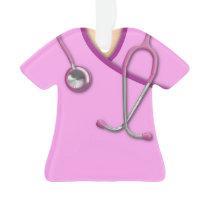 Pink Medical Scrubs Ornament