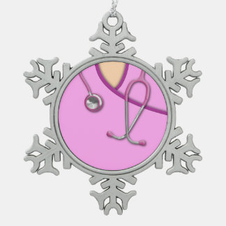 Pink Medical Scrubs Snowflake Pewter Christmas Ornament