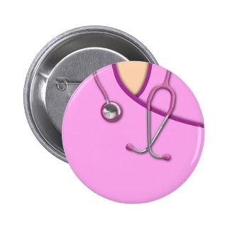 Pink Medical Scrubs Pinback Button