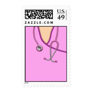 Pink Medical Scrubs Postage Stamp