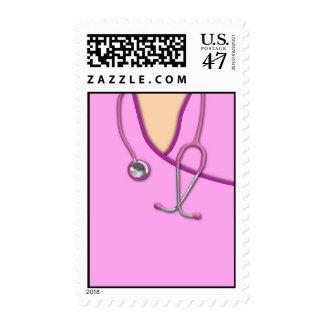 Pink Medical Scrubs Stamp