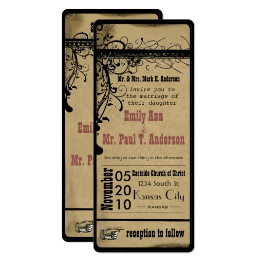 Medieval Wedding Invitation Wording: Boarding Pass Cruise Wedding Invitations