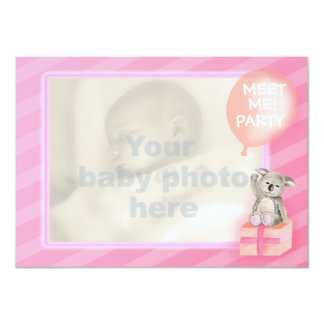 """Pink meet me new baby girl party invite 4.5"""" x 6.25"""" invitation card"""