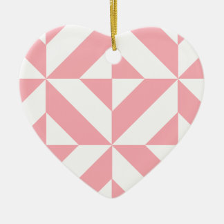 Pink Melon Geometric Deco Cube Pattern Christmas Tree Ornament