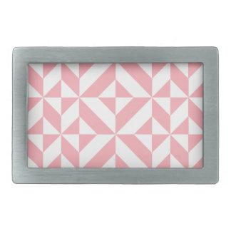 Pink Melon Geometric Deco Cube Pattern Rectangular Belt Buckle