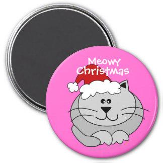Pink Meowy Christmas Cute Fat Cartoon Cat Fridge Refrigerator Magnet