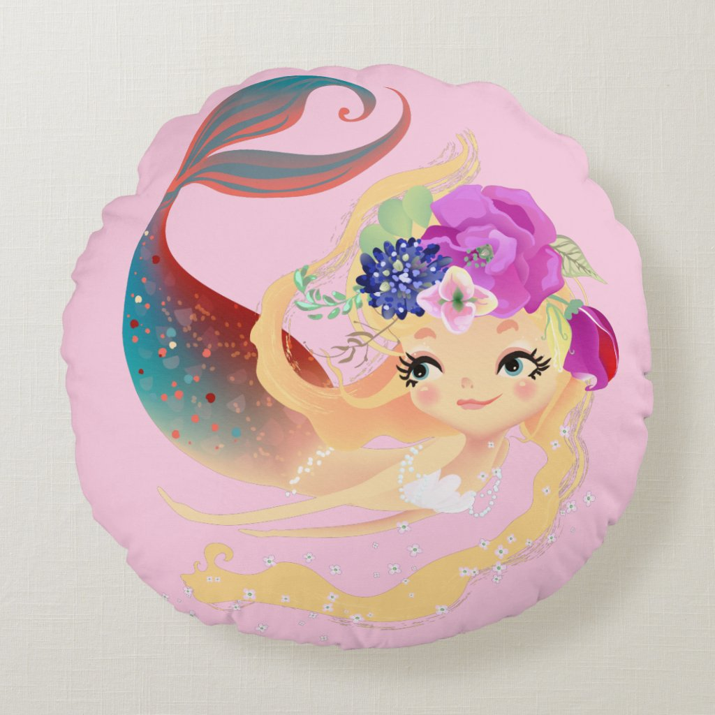 Pink Merbaby Baby Mermaid Round Pillow