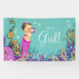Pink Mermaid Baby Shower Banner