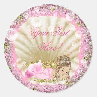Pink Mermaid Baby Shower Stickers