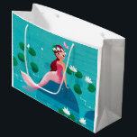 """Pink Mermaid Gift Bag<br><div class=""""desc"""">A sweet little Mermaid sitting on a stone surrounded by water lilies. A cute design with beautiful illustrations by Ulla at mermaid.fi (that's me!). Perfect for all little girls or also bigger ones as a birthday gift, or for anyone who loves the summer and sea and life on the beach....</div>"""