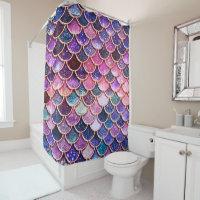Pink Mermaid Glitter Scales- Mermaid Scales Shower Curtain
