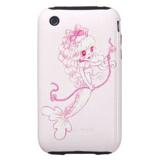 Pink Mermaid Holding String Of Pearls Tough iPhone 3 Case