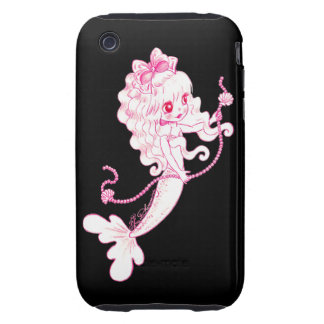 Pink Mermaid Holding String Of Pearls On Black iPhone 3 Tough Cases