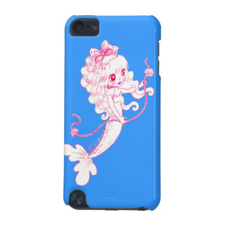 Pink Mermaid Holding String Of Pearls On Blue iPod Touch (5th Generation) Cases